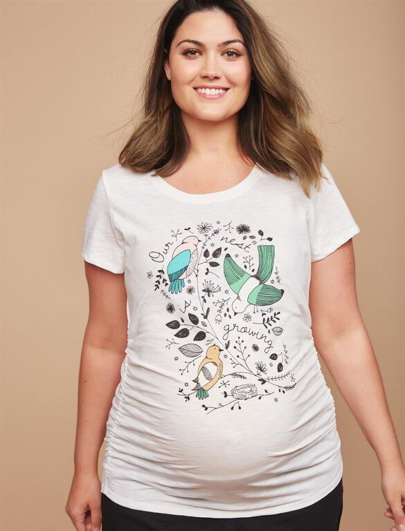 Plus Size Our Nest is Growing Maternity Tee, Cloud Dancer