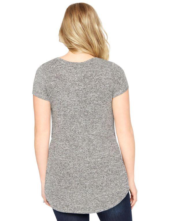 Side Slit Maternity Shirt, Black