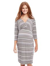 Faux Wrap Geometric Print Maternity Dress, Grey Black Multi
