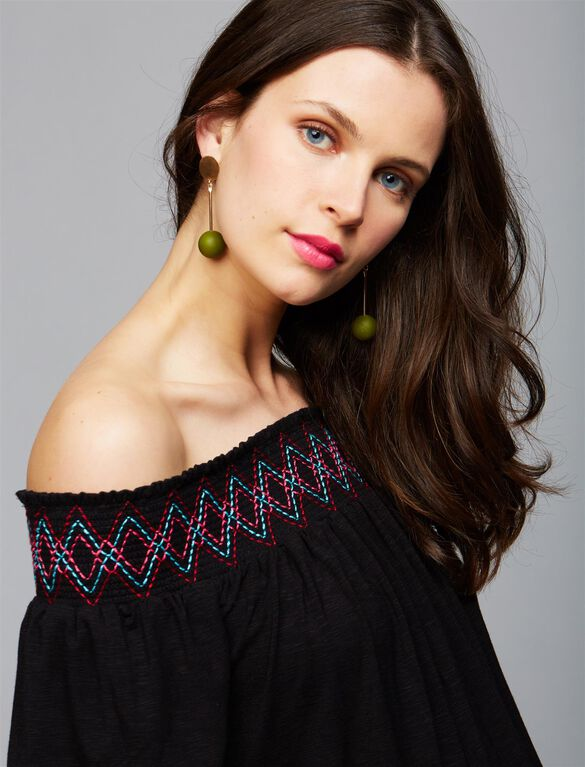 Off The Shoulder Embroidered Maternity Top, BLACK