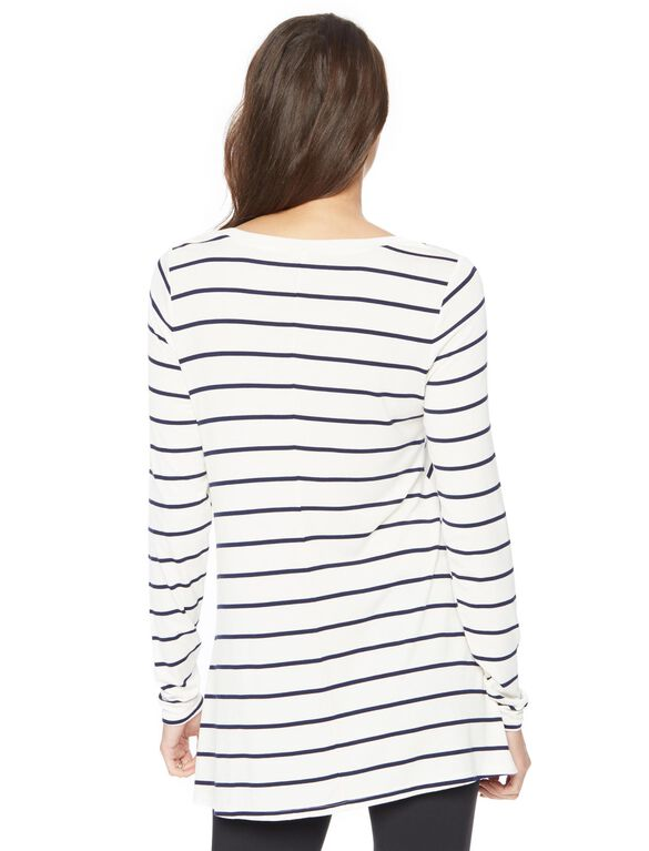 Long Sleeve Legging Maternity Tee- Stripe, Navy/White Stripe