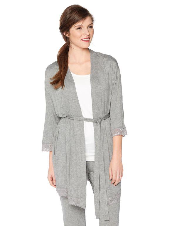 Belted Nursing Robe, Grey