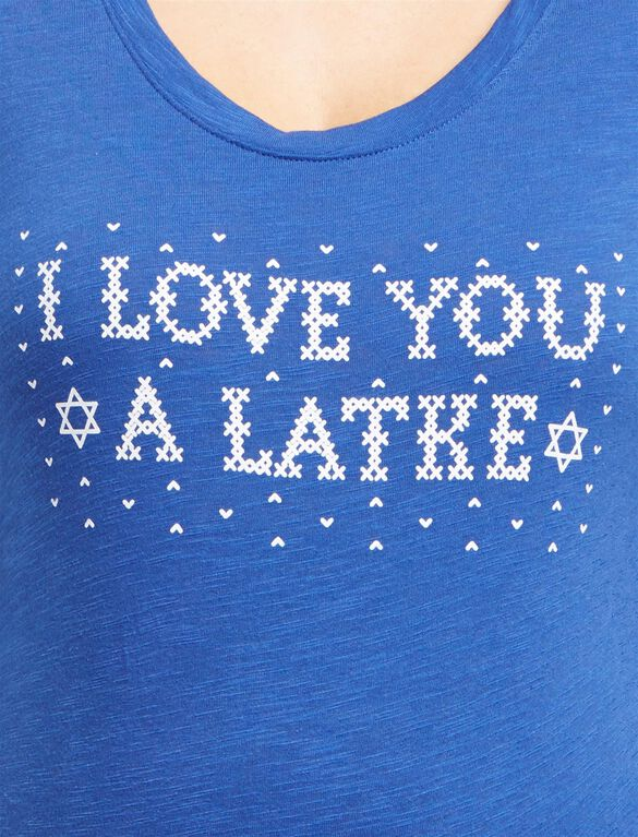 I Love You a Latke Maternity Tee, Love You Latke Blue