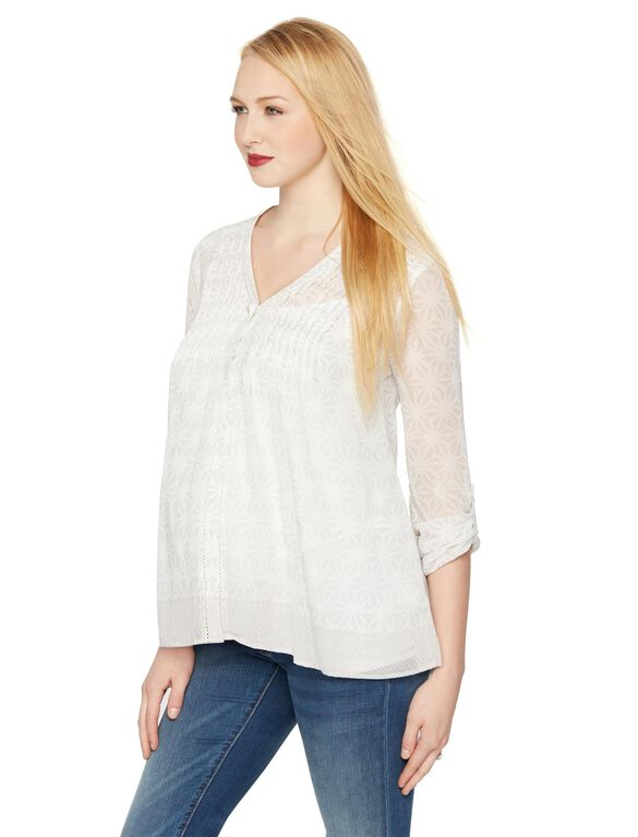A Pea In The Pod Pleated Maternity Blouse, White/Gray Print