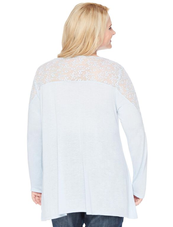 Wendy Bellissimo Plus Size Lace Trim Maternity Blouse, Blue