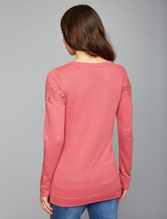Lace Maternity Sweatshirt, Mauve