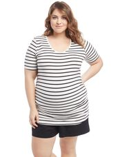 Plus Size Side Ruched Maternity T Shirt, Black/White Stripe