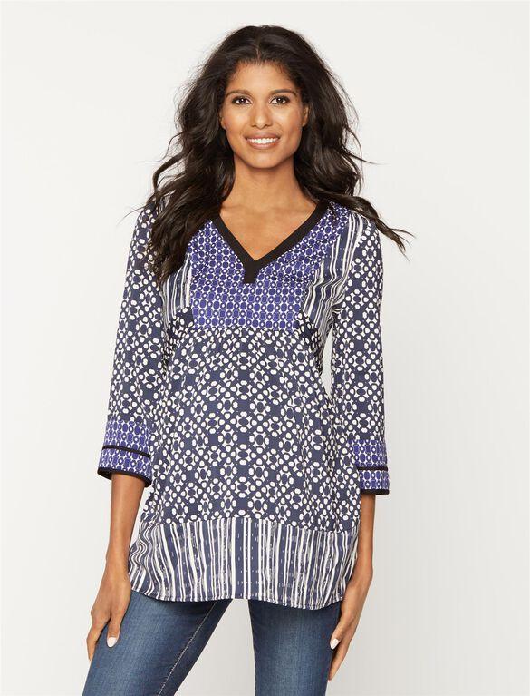 Shirring Detail Maternity Tunic, Mixed Geo Print