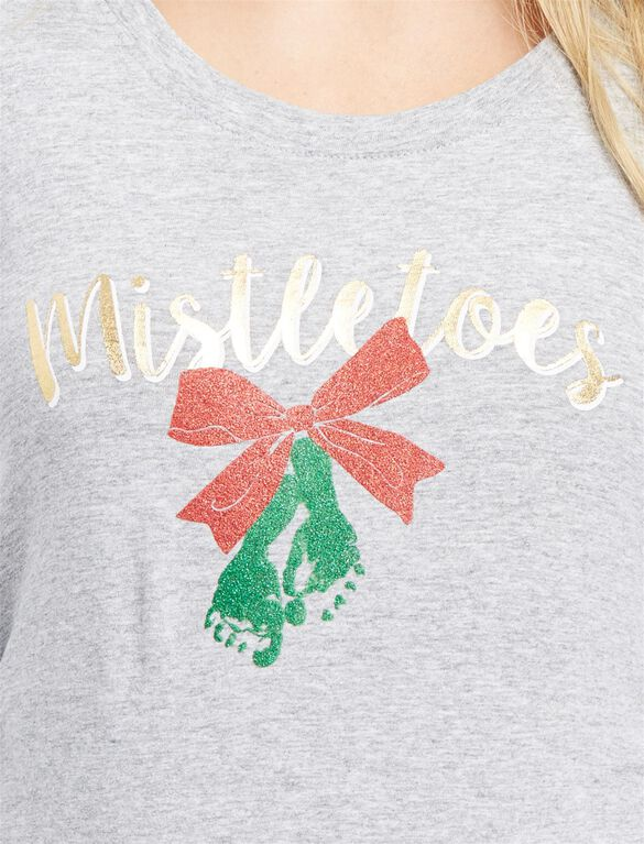 Mistletoes Maternity Tee, Mistletoes Grey