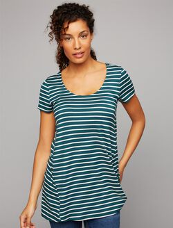Side Access Nursing Tee, Green/White Stripe