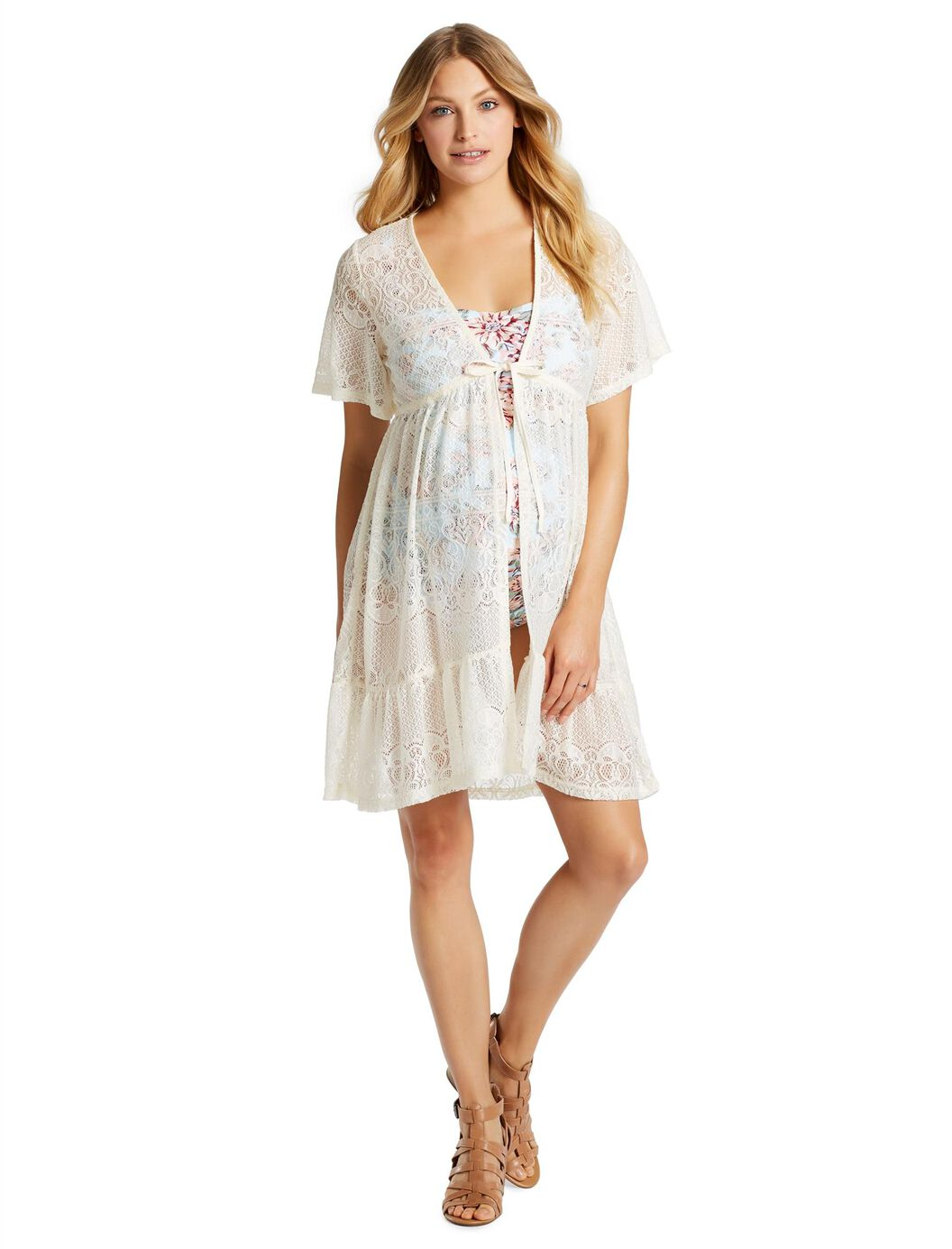 Jessica Simpson Crochet Detail Maternity Swim Cover-up at Motherhood Maternity in Victor, NY | Tuggl