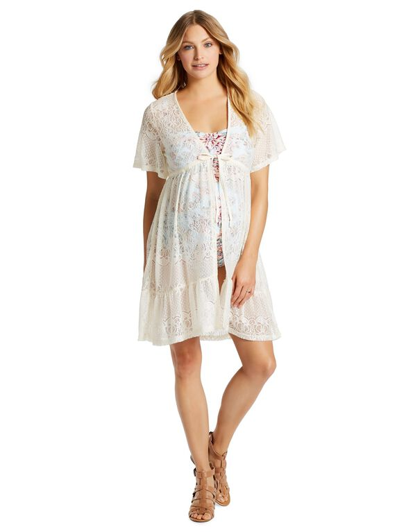 Jessica Simpson Crochet Detail Maternity Swim Cover-up, Cream