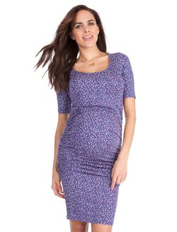 Seraphine Eliza Maternity Dress, Blue Print