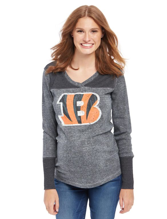 Cincinnati Bengals NFL Long Sleeve Maternity Graphic Tee, Bengals Orange