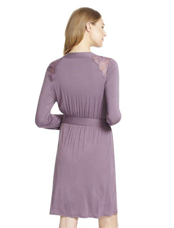 Jessica Simpson Lace Trim Maternity Robe- Pink, Plum