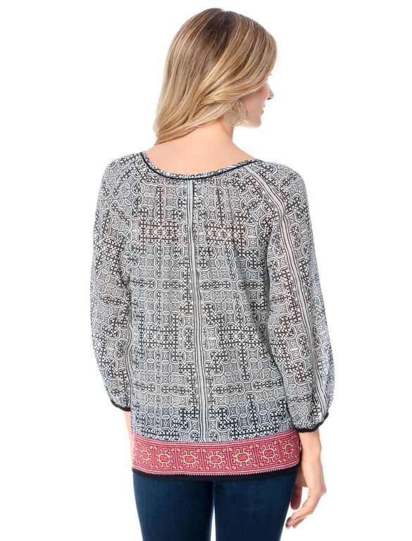 Embroidery Maternity Top, Chambray With Orchid