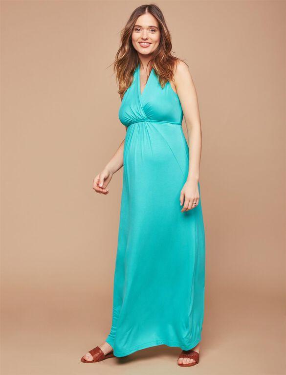 Surplice Neckline Maternity Maxi Dress- Atlantis Green, Atlantis Green