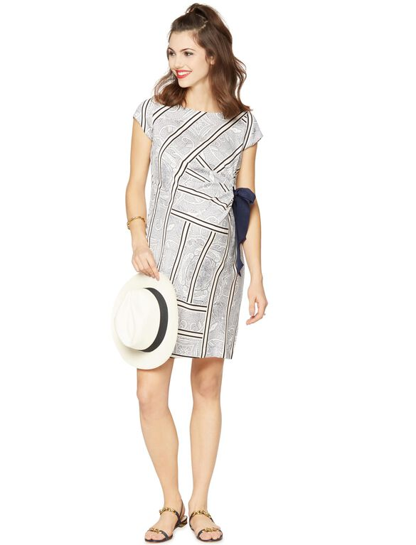 Side Tie Maternity Dress, Ivroy/Blue/Black