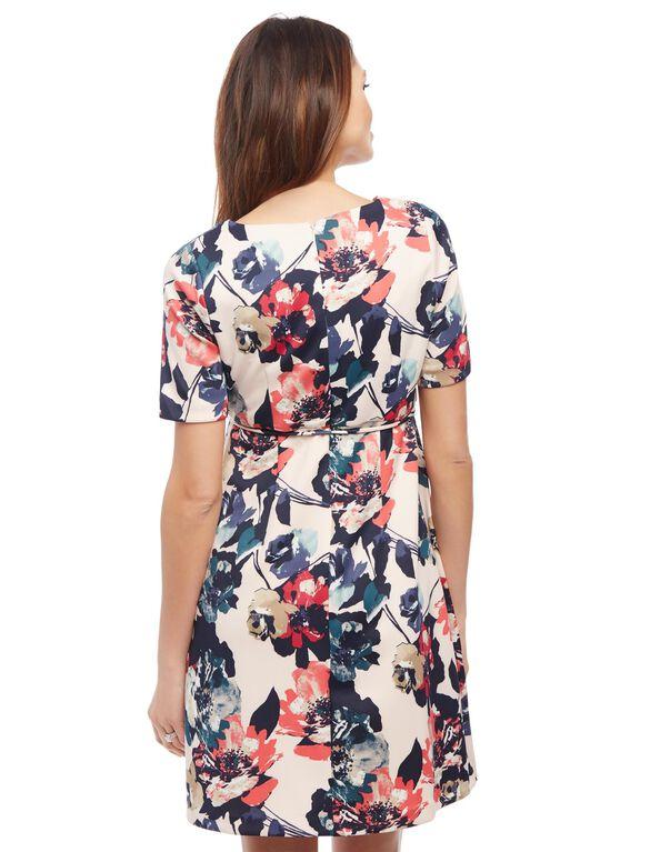 Floral Scuba Maternity Dress, Floral Print