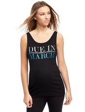 Due in March Maternity Graphic Tank Top, Aquamarine Glitter
