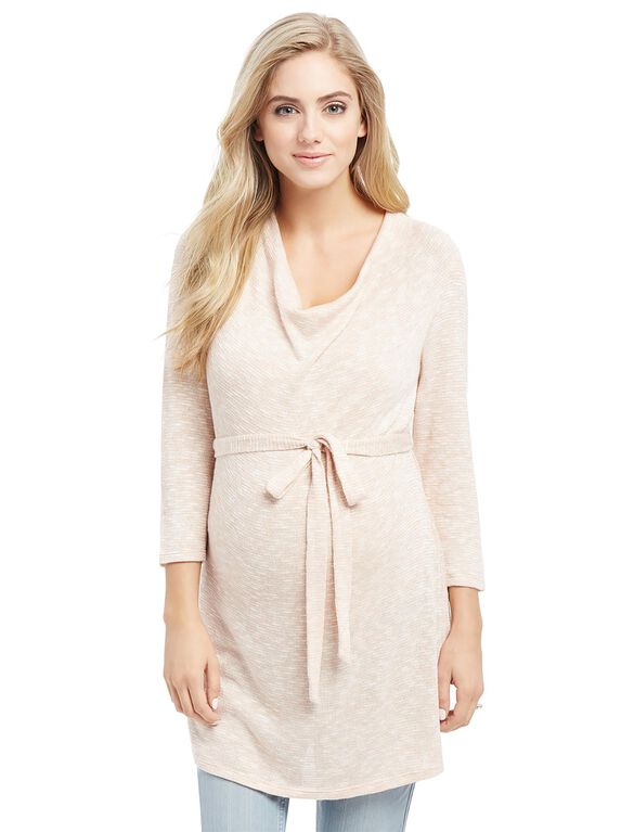 Cowl Neck Tie Detail Maternity Tunic, Pink/Gold
