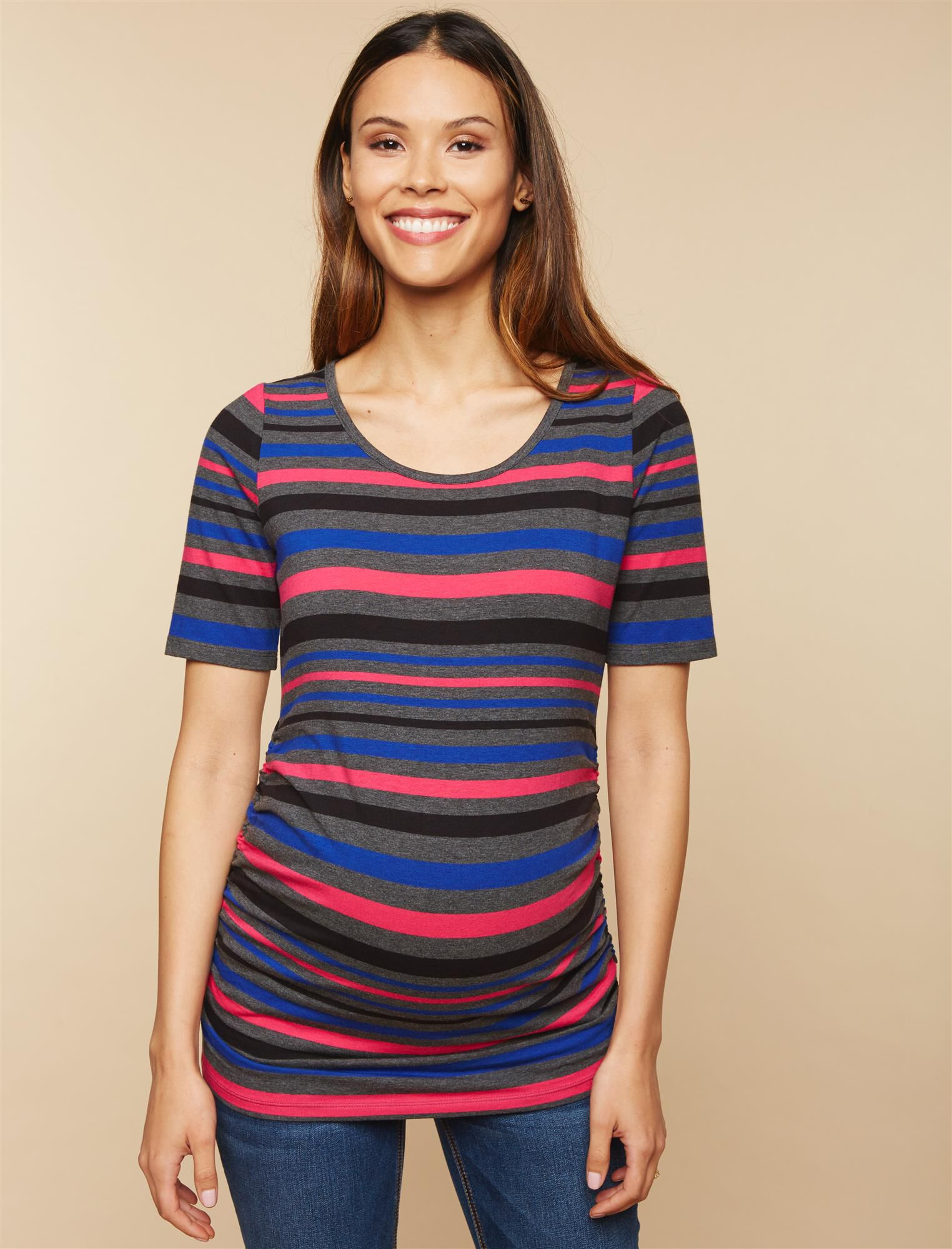 Elbow Sleeve Side Ruched Maternity Tee- Solid
