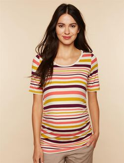 Elbow Sleeve Side Ruched Maternity Tee- Solid, Coral Stripe
