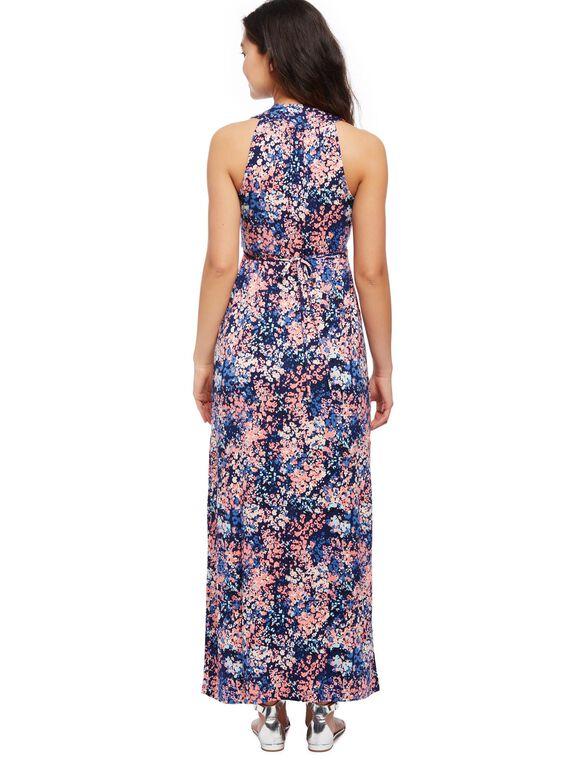 Surplice Neckline Maternity Maxi Dress- Floral, Floral Print