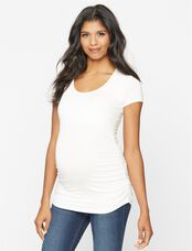 Isabella Oliver Scoop Neck Maternity Tee- Solids, White