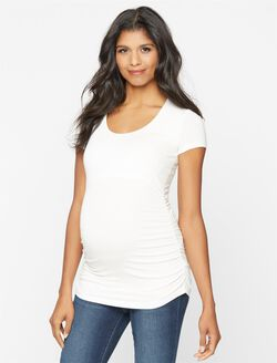 Isabella Oliver Scoop Neck Maternity Tee- Solid, White