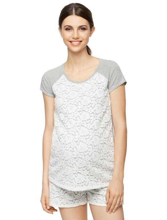 Lace Maternity T Shirt, Heather Grey