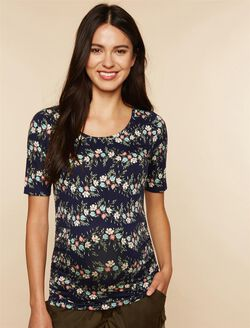 Elbow Sleeve Side Ruched Maternity Tee- Solid, Navy Floral