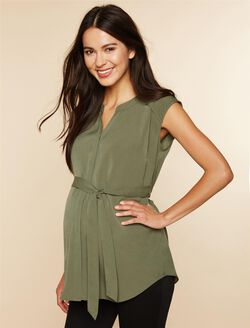 Cap Sleeve Tie Detail Maternity Tunic- Green, Green