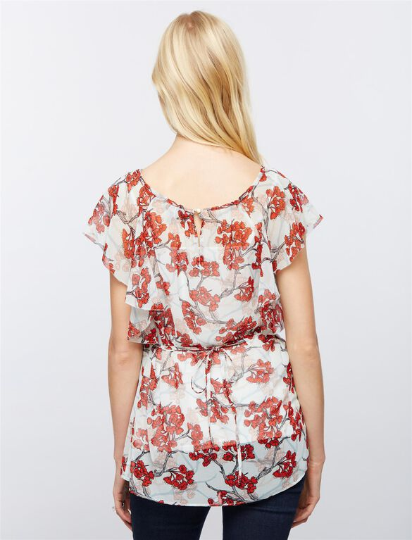 Flutter Sleeve Maternity Top, Cherry Blossom Print