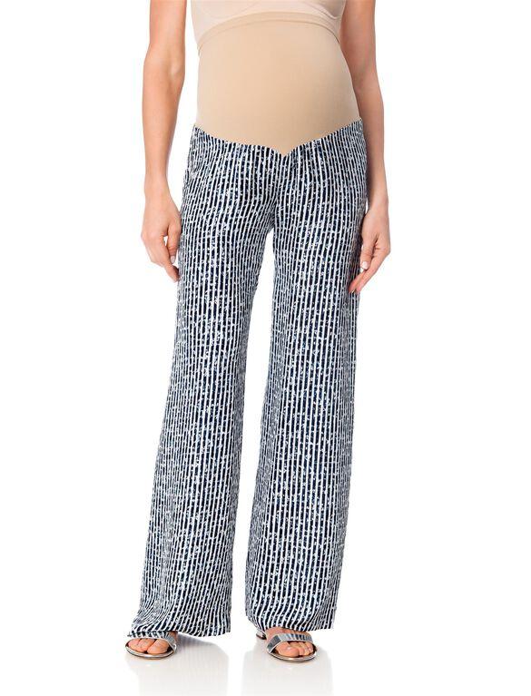 Secret Fit Belly Satin Wide Leg Maternity Pants, Multi Print