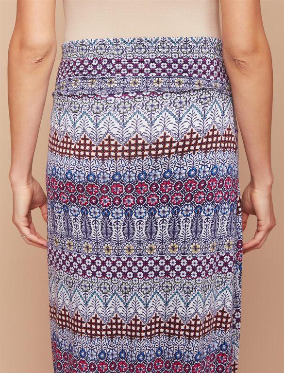 Under Belly Smock Waist  Maternity Maxi Skirt- Tribal Print, Tribal Print