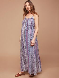 Pleated Printed Maternity Maxi Dress, Blue Geo Stripe