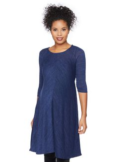 Scoop Neck Swing Maternity Dress, Heathered Navy