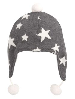 Charcoal Star Aviator Hat By Elegant Baby, Grey Star