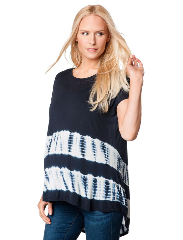 A-line Maternity T Shirt, Navy Blue Tie Dye