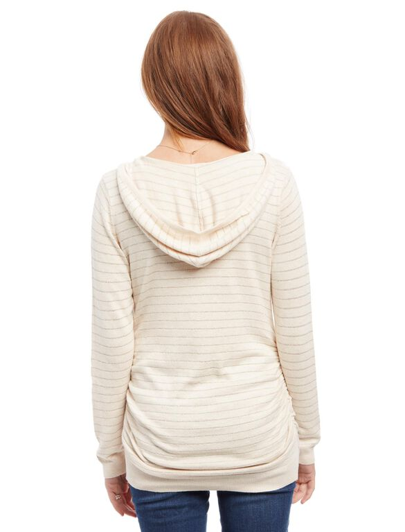 Side Ruched Maternity Hoodie, Oat