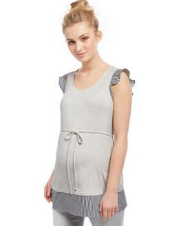 Flutter Sleeve Knit Woven Maternity Shirt- Grey, Grey
