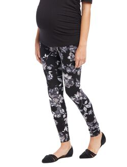 Secret Fit Belly Printed Maternity Leggings- Black/White Floral, Black/White Floral