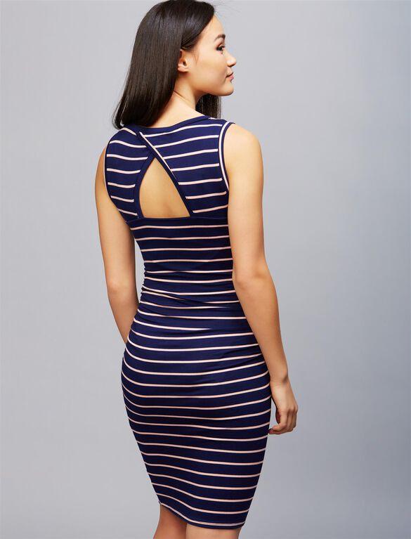 Striped Back Cutout Maternity Dress, Navy/Peach
