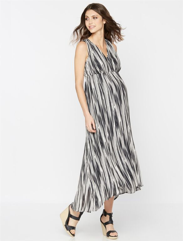 Printed Open Back Maternity Maxi Dress, Black/White