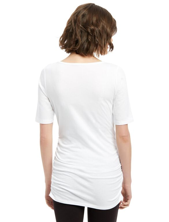 Elbow Sleeve Side Ruched Maternity Tee- Solid, White