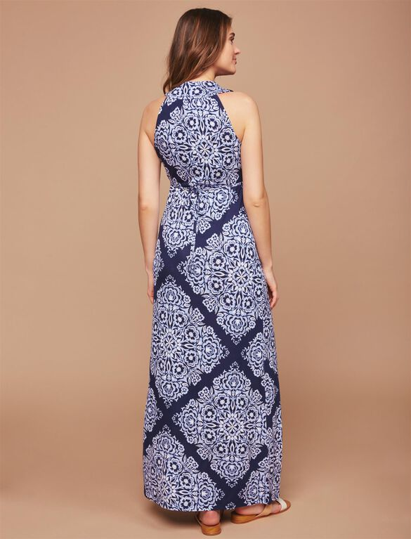 Printed Maternity Maxi Dress, Navy Bandana Print