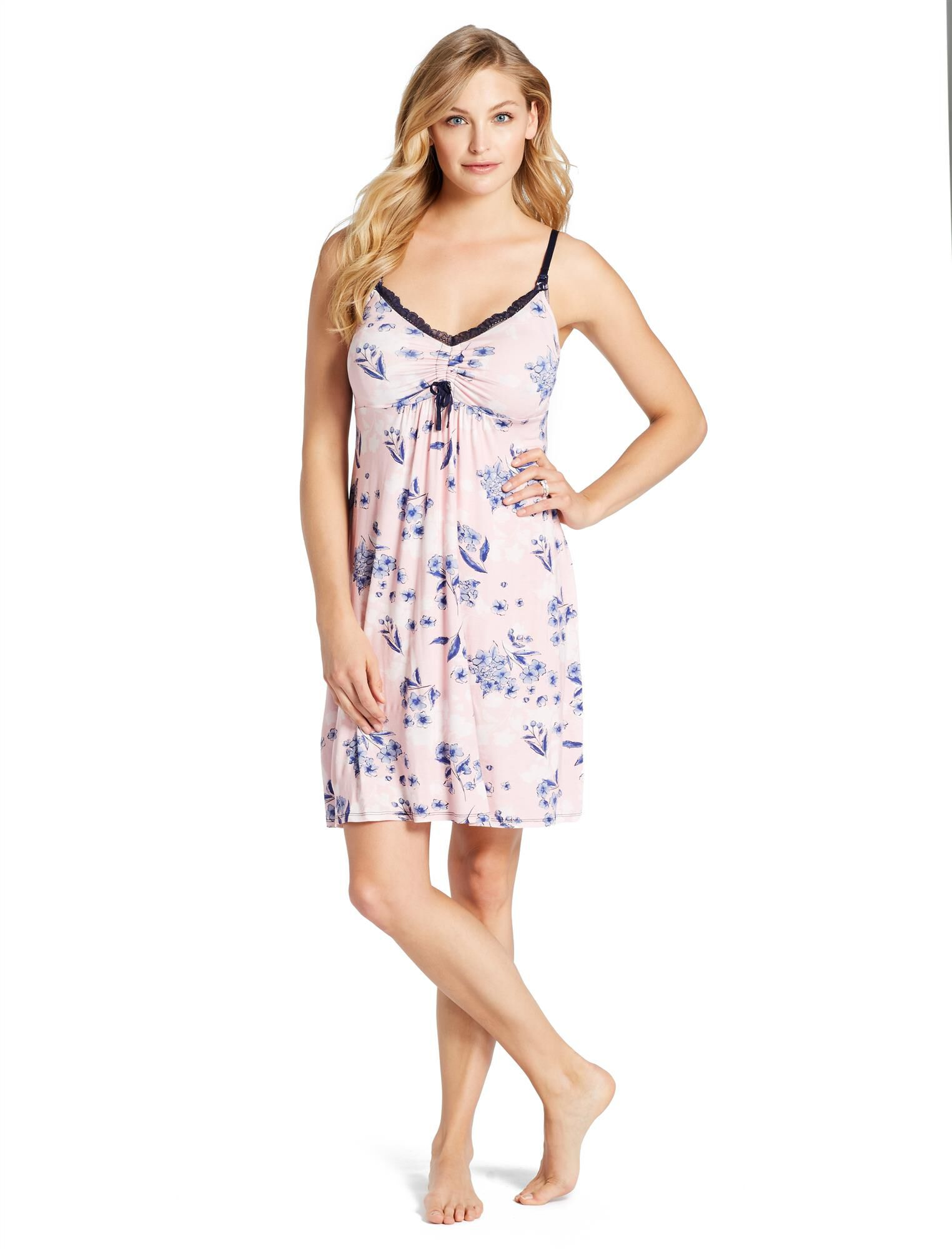 Jessica Simpson Lace Trim Maternity Nightgown