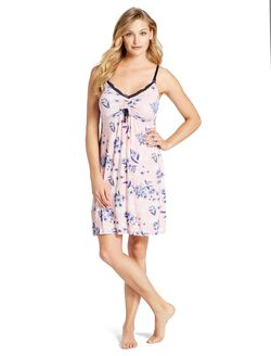 Jessica Simpson Lace Trim Maternity Nightgown, Tie Dye