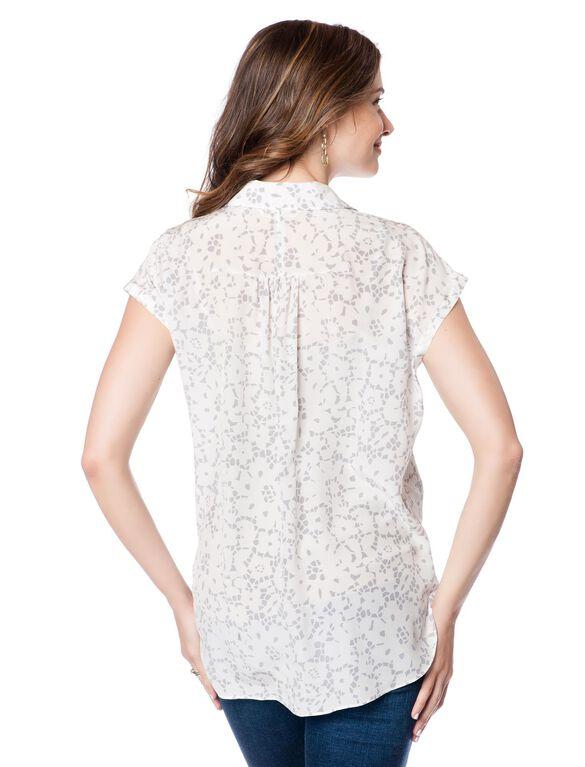 Button Front Maternity Blouse, Lace Print
